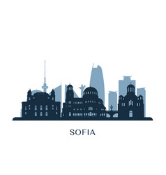 sofia skyline monochrome silhouette vector image