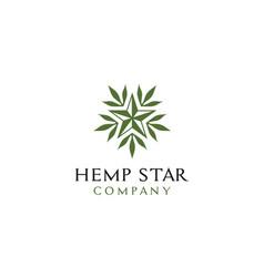 Star cannabis marijuana leaf hemp cbd logo vector