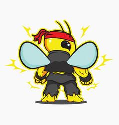 Strong bee logo mascot sport vector
