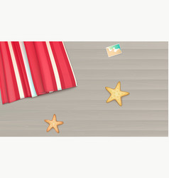 Top view towel beach mat lies on a light wooden vector