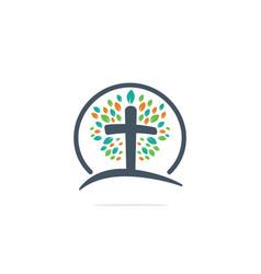 Tree religious cross logo vector