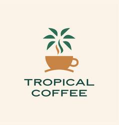 tropical coffee palm tree logo icon vector image