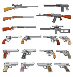 Various rifle guns and pistols cartoon vector