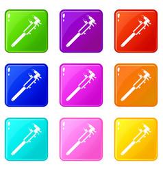 Vernier caliper icons 9 set vector