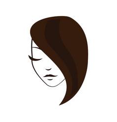 Women face with straight hair vector