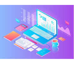Workspace with tablet and useful stuff on desktop vector