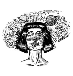 Young woman with planets double exposure future vector