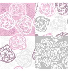 abstract seamless flower rose pattern set vector image vector image