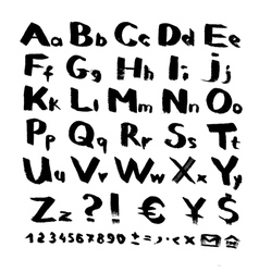 Alphabet and symbols from black brush strokes vector image vector image