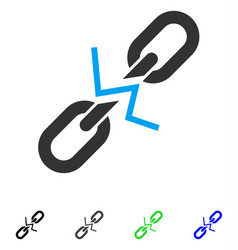 Broken chain link flat icon vector