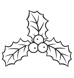 christmas holly berry symbol vector image
