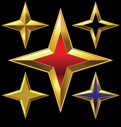 four-point golden star vector image