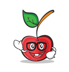 geek face cherry character cartoon style vector image