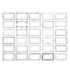 hand drawn line photo frame borders set vector image
