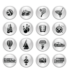recreation vacation travel icons set vector image vector image