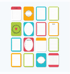 template for notebooks collection of various note vector image vector image