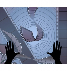 two hands with film vector image