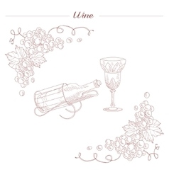 Vintage Bottle And Wine Glass Hand Drawn Realistic vector image
