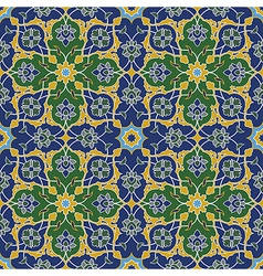 Arabesque seamless pattern in blue and green vector image vector image