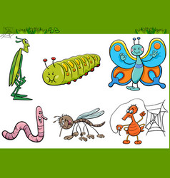 cartoon insect characters set vector image