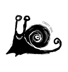 creepy grunge snail vector image vector image