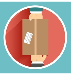 Flat delivery box and two hand vector image vector image