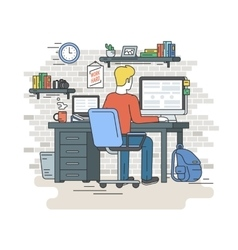 Man with laptop sitting at home vector image vector image