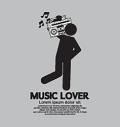 Man With Radio Music Lover Concept vector image vector image