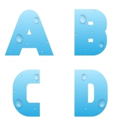 Alphabet with water drops vector