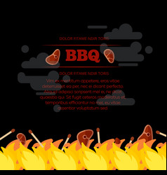 bbq party poster design with fire and meat vector image vector image