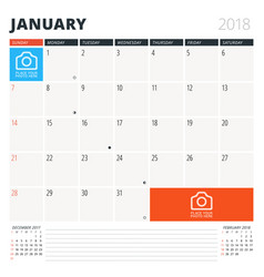calendar planner for january 2018 design template vector image vector image