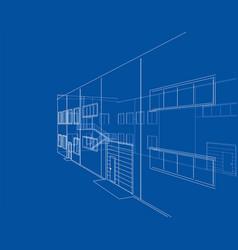 Concept of building rendering of 3d vector