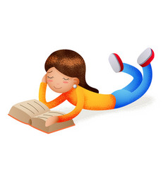 cute happy girl smiling reading book lying on vector image vector image