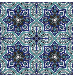 Arabesque seamless pattern in blue and turquoise vector image