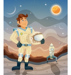 Astronaut cartoon space theme vector image vector image