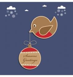 Christmas robin vector image vector image