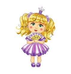 Cute little princess in a purple dress vector image vector image