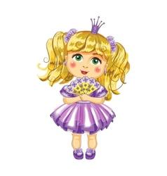 Cute little princess in a purple dress vector