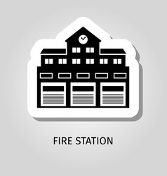 fire station black building sticker vector image vector image