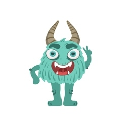 Furry Turquoise Friendly Monster With Horns vector image vector image