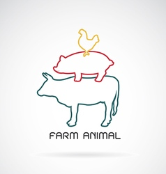 group of animal farm label vector image vector image