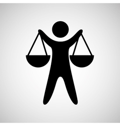 silhouette man scale justice icon graphic vector image