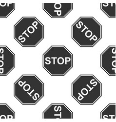 stop sign seamless pattern on white background vector image