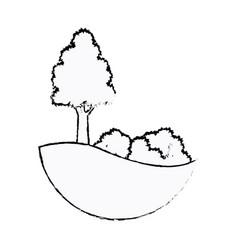 tree and bushes natural leaf stem sketch vector image vector image