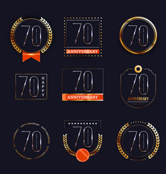 70 years anniversary logo set vector image