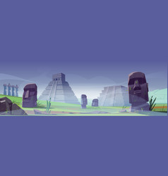 ancient moai statues and mayan pyramids in fog vector image