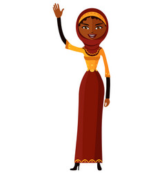 Arab muslin cheerful young girl waving her hand vector