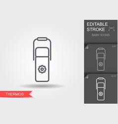 bathermos line icon with editable stroke vector image