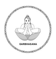 beautiful women does yoga ornamental circle vector image