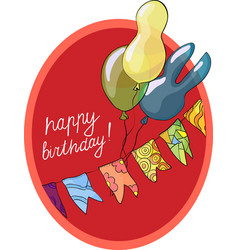 Birthday greeting card with balls vector